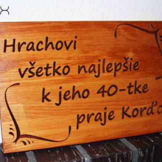 darčeková tabuľa z dreva